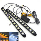 2x 12 LED Car Front Turn Signal Light Knight Rider Running Lamp DRL White Amber