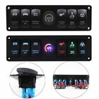 12V/24V 6 Gang Colorful LED Rocker Switch Panel Voltmeter Universal Car Switch 2