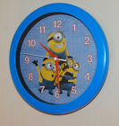"""Despicable Me Minions blue yellow Wall Clock metal hands glass face 10"""" diam"""