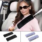 1 Pair Faux Sheepskin Adults Car Seat Belt Cover Pads Strap Shoulder Pad BLACK