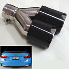 Dual Car Exhaust Muffler Tip Pipe 63mm Glossy Carbon Fiber Universal Left Cover