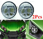 Pair Chrome LED Headlight Replacement Daymaker For 12-17 Kawasaki Teryx Teryx4