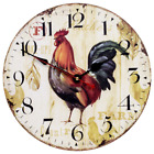 ? Silent Wall Clock Non-Ticking Rooster Decorative Wooden By Sky