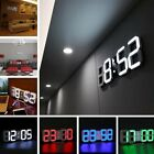 Modern Digital 3D White LED Wall Clock Alarm Clock Snooze 12/24 Hour Display HL
