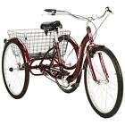"""Red 26"""" Wheel Adult Tricycle w/ Basket Outdoor Riding Cycling Single Speed"""