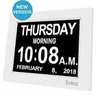 "SVINZ 8"" Digital Calendar Alarm Day Clock with 3 Alarm Options, Extra Large"