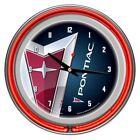 Pontiac Chrome Double Ring Neon Clock Den Man Cave Garage Shop Wall Decor TV New