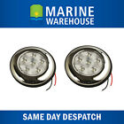 2 x LED Interior Light Stainless Steel 102mm - White - Marine Caravan 705060/2