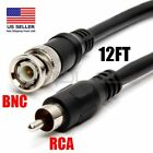 12ft BNC male to RCA male video CCTV DVR camera cable cord for CCTV DVR to TV US