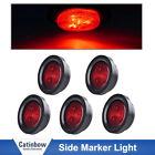 "5PCS Red 4LED 12V Round 2.5"" Clearance Side Marker Truck Trailer Light  Grommet"