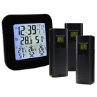 Wireless Weather Station Thermometer with 3 Indoor Outdoor Sensor Clock Alarm Te