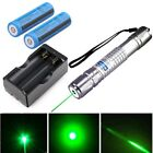 Green Laser Pointer Pen 50Miles 532nm Lazer Beam 2x Rechargeable Battery+Charger