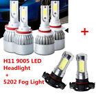 H11 9005 Headlight Hi Low Beam+Fog Light 5202 for 2007-2015 Chevy Silverado 1500