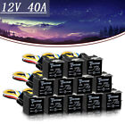 12 PCS 12 V Car Automotive Relay 5 Pin 5 Wires w/Harness Socket 30/40Amp