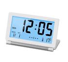 Mini Foldable Travel Alarm Clock w/ Temperature Date Calendar LCD Digital Screen