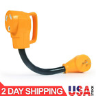 """Camco Heavy Duty RV Dogbone Electrical Adapter with Innovative 180 Degree, 12"""""""