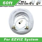 PREMIUM 60Ft HIGH QUALITY THICK BNC EXTENSION CABLES FOR EZVIZ SYSTEMS WITHE