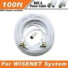 PREMIUM 100Ft HIGH QUALITY THICK BNC EXTENSION CABLES FOR WISENET SYSTEMS WITHE