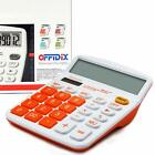 Large LCD 12 Digit Calculator Display Solar Battery Dual Power Orange Big Button