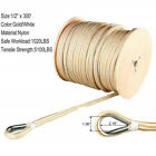 """1/2"""" x 300'  Double Braided Nylon Anchor Line with Thimble White/Gold Dock Line"""