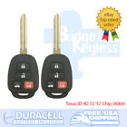 TWO TOYOTA 4 Button 2012 - 2014 CAMRY 2012 -2017 PRIUS C Keyless Entry Remotes