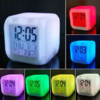 7 Color LED Change Digital Glowing Alarm Clock Electronic Clock Bedroom Child US