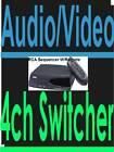 4 CAMERA SWITCHER+4CH AUDIO+S-VIDEO+WIRELESS REMOTE CCTV RCA vh915 COMPOSITE AV