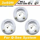 WHITE PREMIUM 180FT BNC CABLE FOR 8 CH QSEE SYSTEMS QT-5140, 578, 5516, 5032
