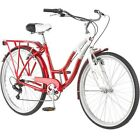 "Schwinn Point Beach 26"" 7 Speed Ladies Cruiser Bike Bicycle Red White Shimano"