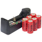 6pcs CR123A 16340 123A 3.7V 2300mAh GTL Rechargeable Battery Red + Smart Charger