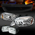 Fit 96-98 Civic Chrome LED Halo Projector Headlights+Chrome Fog Lamps+Grille