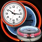 14 Inch Double Ring Neon Clock Orange Outer Ring White Inner Ring Pull Chain