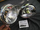 NEW PAIR SMALL VINTAGE STYLE CLEAR COLOR FOG LIGHTS WITH VISORS IN 12 VOLS ! B/T