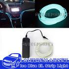 5M Ice Blue Interior Light Cold Car LED EL Neon Lamp Atmosphere Glow Strip Bulbs