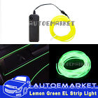 5M Lemon Green Interior Light Car LED EL Wire Neon Lamp Atmosphere Glow Strip