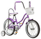 16 in Schwinn Girl's Sidewalk Bike Banana Seat Basket Jamboree, Purple