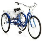 "Blue 26"" Wheel Adult Tricycle w/ Basket Outdoor Riding Cycling Single Speed"