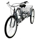 "Silver 26"" Wheel Adult Tricycle w/ Basket Outdoor Riding Cycling Single Speed"