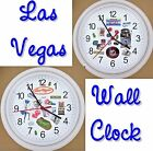 LAS VEGAS Wall Clock Nevada Casino Chip Craps Roulette Show Dice Slots Cards NEW