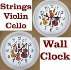 VIOLIN CELLO BASS Player Wall CLOCK Music Musician Strings Bow Orchestra NEW