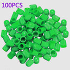 New 100x Green ABS Wheel Tire Tyre Valve Stem Caps Dust Air Cover Screw Car Bike