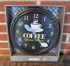 "BENRUS BATTERY OPERATED COFFEE WALL CLOCK 10-3/4"" NEW"