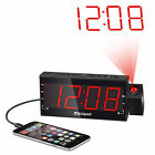 "Digital Dimmable Projection Alarm Clock Radio with 1.8"" LED Display USB Charging"