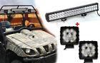 "23""inch 144W Combo LED Bar+27W Lights For UTV Polaris RZR TERYX Windshield Roof"