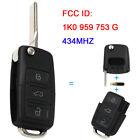 3 Button Flip Remote Key 434MHZ ID48 Chip 1K0 959 753 G For Volkswagen Golf Seat