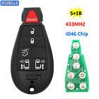 5+1/6 Button Remote Key 433Mhz ID46 For 2008-2014 Chrysler Dodge Grand Caravan