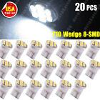 20x Xenon White T10 Wedge 8-SMD Car Map Dome Interior LED Light Bulbs 194 2825