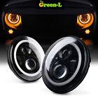 2x 7Inch Round LED Headlight Hi/Low Beam Halo Angle Eye For Jeep Wrangler Yellow