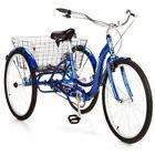 Adult Tricycle Bike Blue Schwinn Meridian Bicycle 3 Wheel Trike Folding Basket