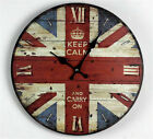 Retro Vintage Style Cute Wooden British Flag Wall Clock WC001